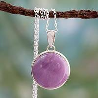 Phosphosiderite pendant necklace, 'Lavender Muse' - Phosphosiderite Necklace on Sterling Silver