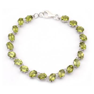Tennis Style Peridot and Sterling Silver Bracelet