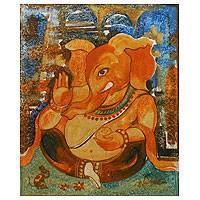 'Happy Ganesha III' - Original Hinduism Painting