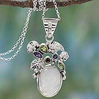 Rainbow moonstone and amethyst floral necklace,