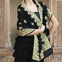 Wool and silk blend shawl, 'Golden Arabesques' - Floral Wool Silk Blend Embroidered Shawl