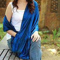 Varanasi silk shawl, 'Blue Evening' - Handcrafted Royal Blue Black Varanasi Silk Shawl