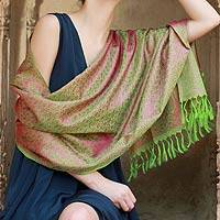 Varanasi silk shawl, 'Pretty Pink Paisley' - Artisan Crafted Indian Paisley Silk Patterned Shawl