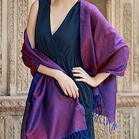 Varanasi silk shawl, 'Blue Ruby' - Shawl Varanasi Silk Handcrafted Paisley Wrap