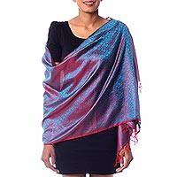 Varanasi silk shawl, 'Feminine Flair' - Varanasi silk shawl