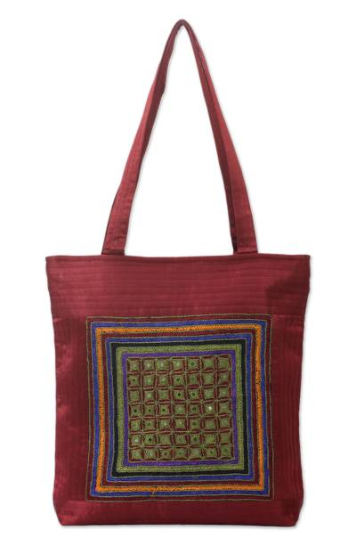 Embroidered shoulder bag kutch celebration novica