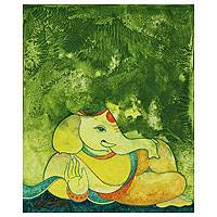 'Ganesha in Nature' - Spiritual Hindu Painting from India