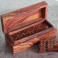 Brass inlay wood domino set, 'Domino Delight' - Wood Domino Brass Inlay Hand-carved Table Game