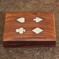 Inlaid wood playing card set, 'Four Suits for Luck' - Wood Card Set 2 Decks of Cards Brass Inlaid Box