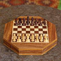 Wood travel chess set, 'Traveling Challenge' - Wood travel chess set