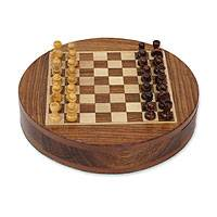Wood chess set, 'Circular Strategy' - Wood chess set