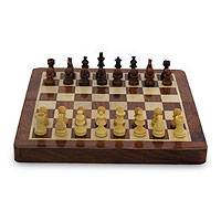 Wood chess and backgammon set, 'Double Strategy' - Wood Chess Set and Backgammon Game