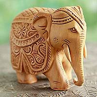Wood sculpture, 'Majestic Elephant' (small) - Indian Artisan Hand Carved Wood Sculpture