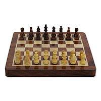 Wood chess and backgammon set, 'Play Twice' - Wood chess and backgammon set