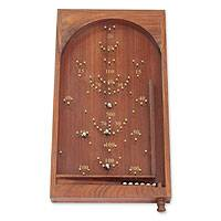 Wood bagatelle, 'Thrill of the Game' - Bagatelle Game Wood with Brass Inlay and Steel Marbles