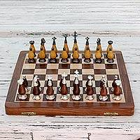 Wood and brass chess set, 'Royal Battle' - Indian Wood Chess Set with Brass Details and Folding Board