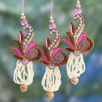 Beaded ornaments, 'Kolkata Jewel' (set of 3) - Beaded ornaments (Set of 3)