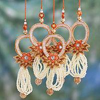 Beaded ornaments, 'Kolkata Mistletoe' (set of 5) (India)