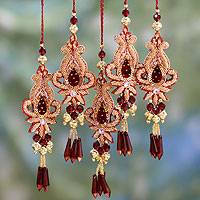 Beaded ornaments, 'Golden Paisley' (set of 5) - Beaded Christmas Ornaments from India (Set of 5)