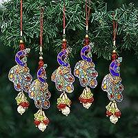 Beaded ornaments, 'Mughal Peacocks' (set of 5) - Handcrafted Hand Beaded Christmas Ornaments (Set of 5)