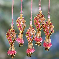 Beaded ornaments, 'Lavish Delhi' (set of 5) - Handcrafted Hand Beaded Christmas Ornaments (Set of 5)