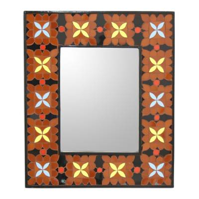 Ceramic Wall Mirror Handmade Mosaic from India