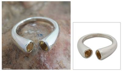 Citrine wrap ring, 'Face to Face' - Citrine wrap ring