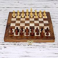 Wood chess set, 'Game of the Intellect' - Wood chess set