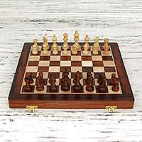 Wood chess set, 'Challenge of the Intellect' - Handcrafted Wood Chess Set Chess with Storage