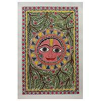 Madhubani painting, 'Splendid Sun' - Unique Madhubani Painting