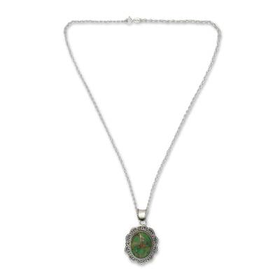 Green Turquoise and Sterling Silver Pendant Necklace