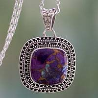 Sterling silver pendant necklace, 'Violet Sunset' - Purple Turquoise Necklace in Sterling Silver