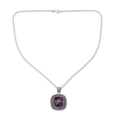 Purple Turquoise Necklace in Sterling Silver