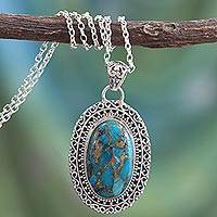 Sterling silver pendant necklace, 'Blue Blossom' - Fair Trade Jewelry Necklace in Sterling Silver