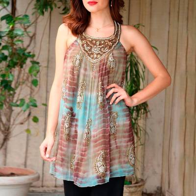 Beaded long halter top, 'Jaipur Jewels' - Long Shibori-Dyed Green and Brown Halter Top with Sequins