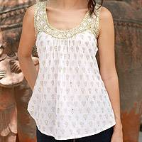 Cotton top, 'Golden Lotus' - Block Printed White Cotton Top with Golden Embellishments