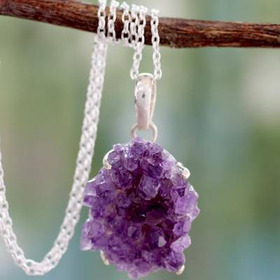 Amethyst pendant necklace, 'Jaipur Jazz' - Handmade Sterling Silver and Amethyst Necklace