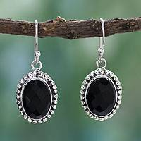Onyx dangle earrings, 'Be Mesmerized' - Sterling Silver and Onyx Dangle Earrings