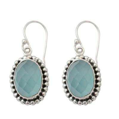 Blue Chalcedony Earrings from Sterling Silver Jewelry