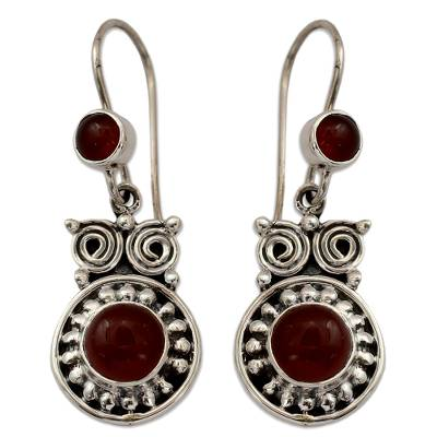 Handcrafted Indian Sterling Silver and Carnelian Earrings