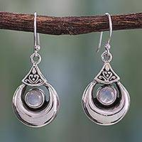 Rainbow moonstone dangle earrings, 'Goddess Fortunes' - Sterling Silver Rainbow Moonstone Earrings from India