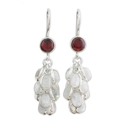 Rainbow Moonstone and Garnet Earrings Artisan Jewelry