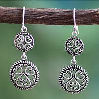Sterling silver dangle earrings, 'All My Valentines' - Hand Crafted Sterling Silver Dangle Hook Earrings from India