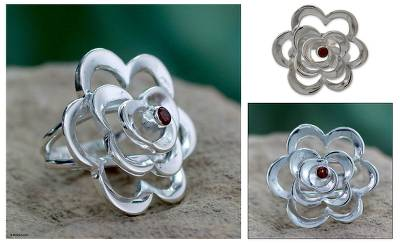 silver for jewelry - Handmade Garnet and Silver Cocktail Ring