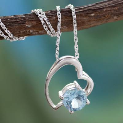 Blue topaz heart necklace, 'Promise of Love' - Indian Heart Jewelry Sterling Silver and Blue Topaz Necklace