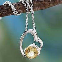 Citrine heart necklace, 'Promise of Love' - Indian Heart Jewelry Sterling Silver and Citrine Necklace