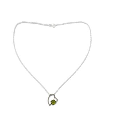 Handmade Peridot and Silver Heart Necklace