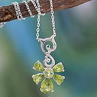 Peridot pendant necklace, 'Blessings' - Peridot pendant necklace