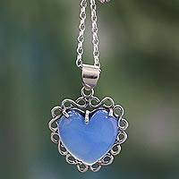 Sterling silver heart necklace, 'Harmony of Love' - Heart Shaped Sterling Silver and Chalcedony Necklace