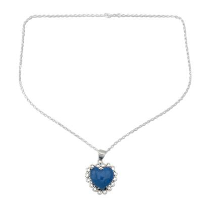 Heart Shaped Sterling Silver and Chalcedony Necklace
